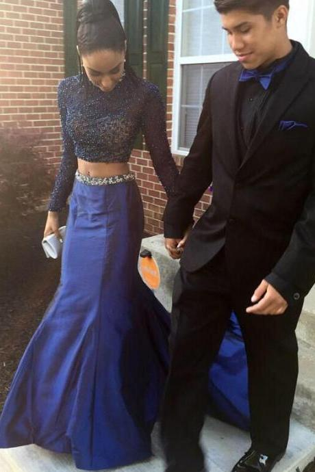 Elegant Two-piece Mermaid Prom Dress, High Neck Long Sleeves Navy Satin With Beading