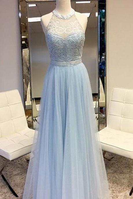 Elegant Round Neck Sleeveless Floor Length Silver Prom Dress with Lace Beading