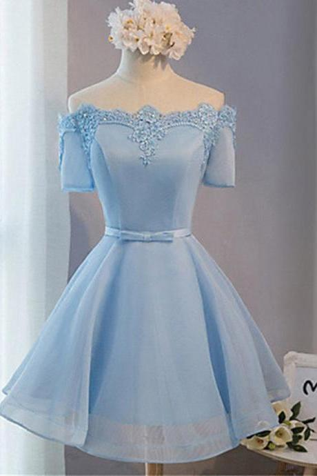 Elegant A-line Off-the-shoulder Above-knee Blue Tulle Homecoming Dress with Appliques,Homecoming Dresses