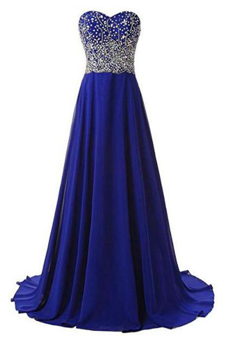 Royal Blue Long Sweetheart A Line Evening Dresses, New Arrival Beaded Party Dress ,Robe De Soiree Formal Gowns