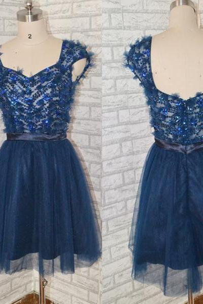 Graduation Dress, Sweetheart Short Navy Blue Prom Dress Lovely prom dress,short prom dress,Navy blue prom dress,tulle prom dress,prom dress with beaded,fashion cocktail dress,,High Quality Graduation Dresses,Wedding Guest Prom Gowns, Formal Occasion Dresses,Formal Dress