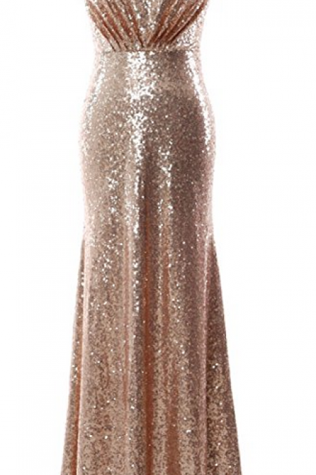 Custom Made Gold Sequin Sleeveless Prom Dress, Long Bridesmaid Dress