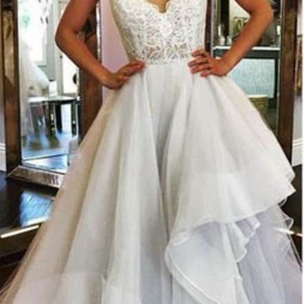 Tulle Prom Dress, Spaghetti Straps Prom Dress,V-Neck Evening Dress