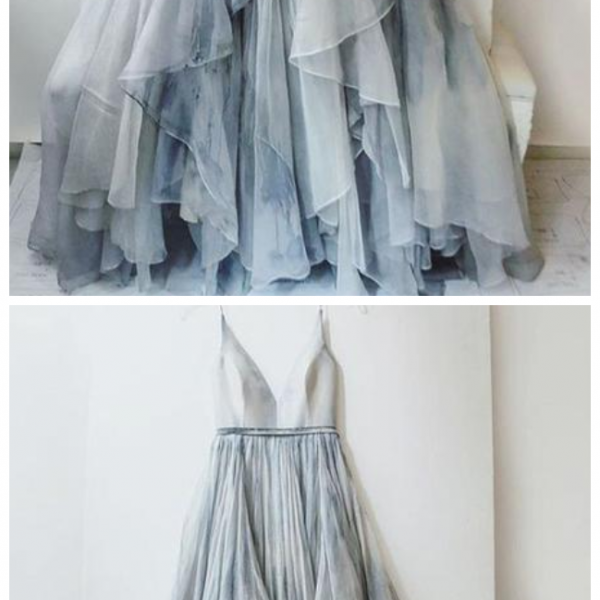 Gradient Prom Dress,Ombre Evening Dress,Prom Dresses,Chiffon Formal Gowns