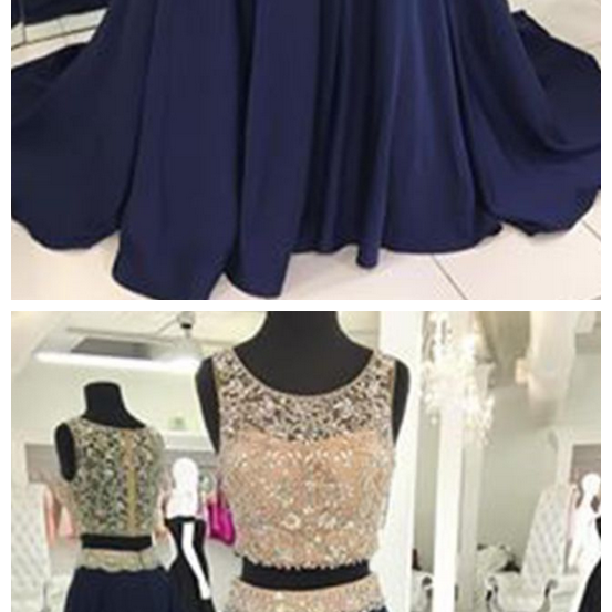 Navy 2 Pieces Prom Dress with Beads