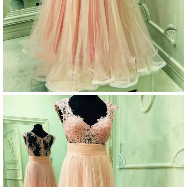 Charming Prom Dress, Sexy Evening Party Dress,Long Evening Dress, Tulle Prom Dress with Appliques