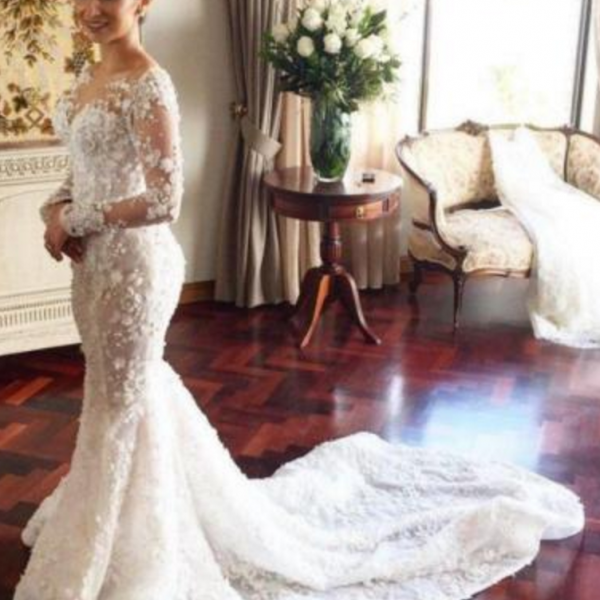 Cheap wedding dresses,white/ivory Long Sleeve Lace White/Ivory Wedding Dress