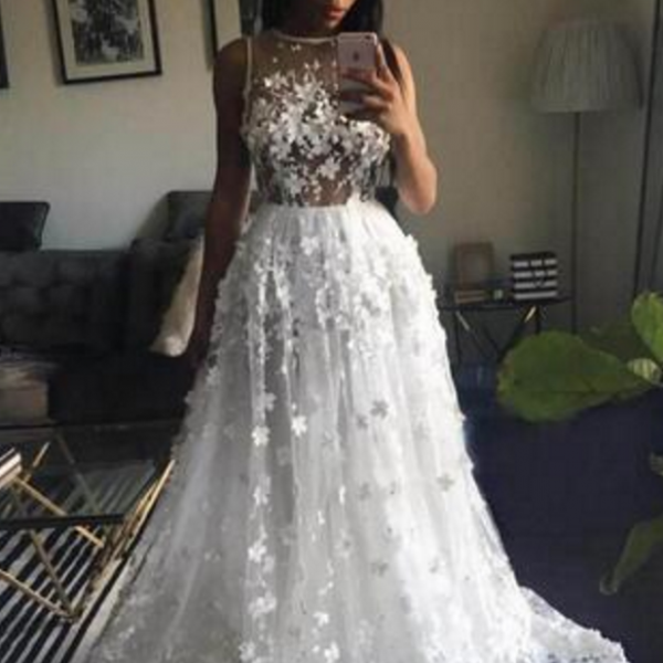 Graceful White A Line Wedding Dress,Bridal Gowns Sexy See Through Handmade Appliques Sheer Back Wedding Dresses, South African Sweep Train Wedding Vestido