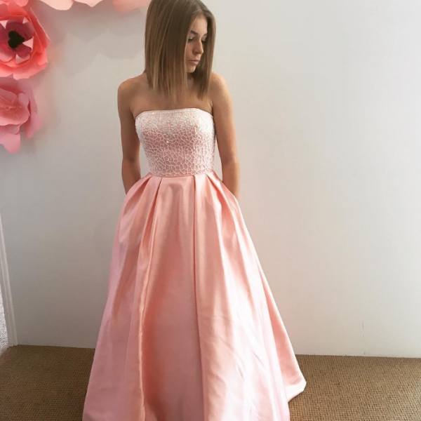Elegant Prom Dress, Long Prom Dresses, Strapless Homecoming Dress