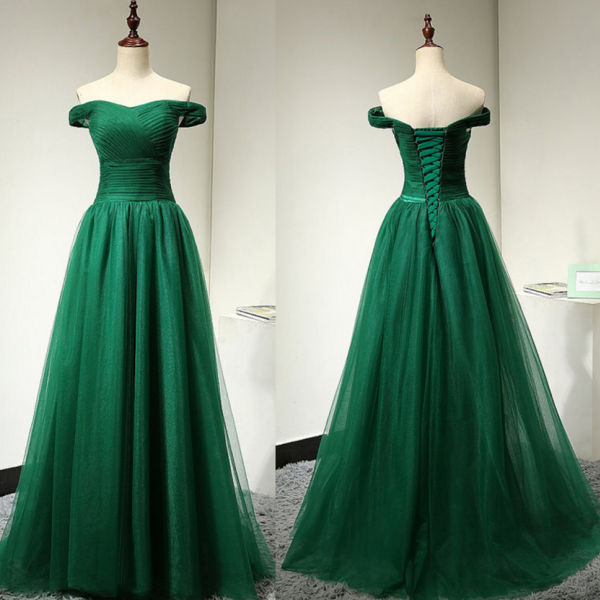 Off Shoulder Sleeves Green Prom Dress,Green Tulle Graduation Dress,Sexy Off Shoulder Formal Dress,Green Evening Dress