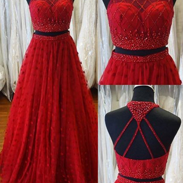 Red Prom Dresses,Two Pieces Prom Dress,A-line Prom Dress,Evening Dresses,Saprkly Prom Dress,Elegant Prom Gowns