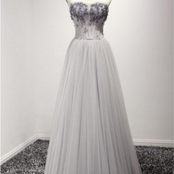 Dusty A-line Sweetheart Floor-length Tulle Prom Dress With Beading