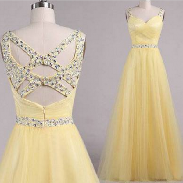 Custom Handmade Cross Back Prom Dresses , Prom Dresses ,Yellow Prom Gown, evening Dresses
