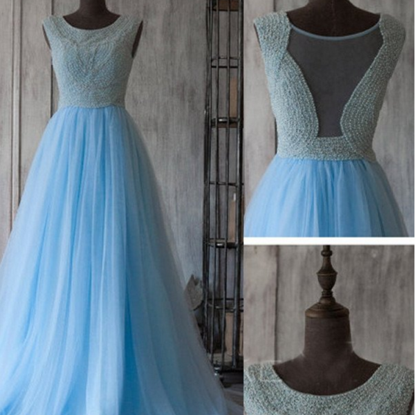 Blue Round Sleeveless Beaded Tulle A-line Long Prom Dress, Evening Dress Featuring Sheer Back