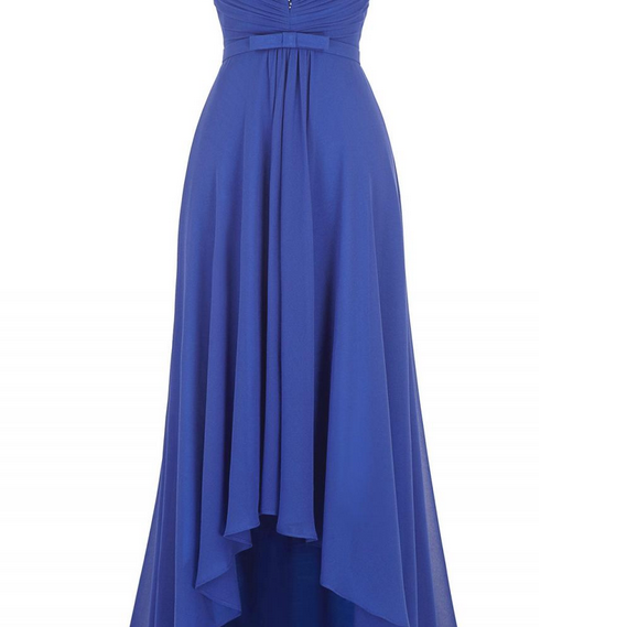 Scoop neck Blue Chiffon Prom Dresses beaded Women Party Dresses