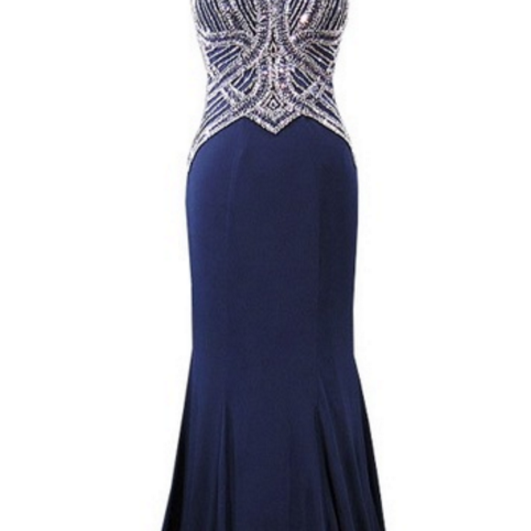 The long mermaid ball gown with a sexy pendant with a floor-length African navy blue ball gown