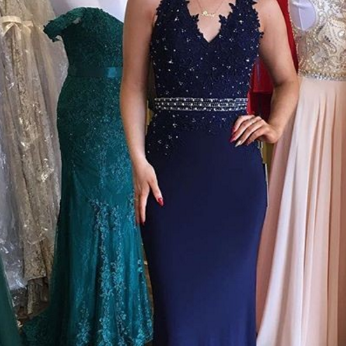 Navy Blue Prom Dress,Mermaid Lace Evening Dress,Halter Neckline Graduation Dress