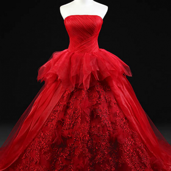 Red Strapless Wedding Dress Bridal Gown Ball Gowns Lace Dress