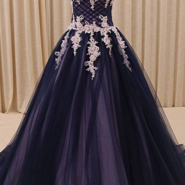 Strapless Ball Gown Prom Dress, Sexy Appliques Tulle Long Formal Evening Dress