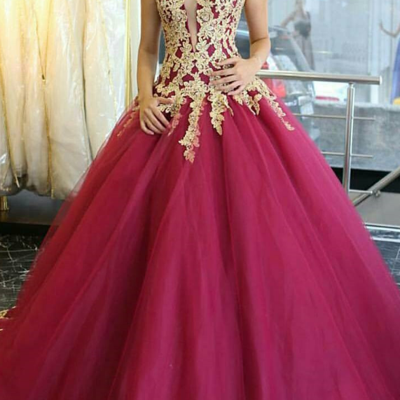 Plunging Neck Prom Dress,Ball Gown with Lace Trim Prom Dresses