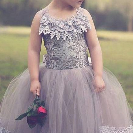 Lace Flower Girl Dresses Kids Prom Dress Gray Tulle Communion Girls Pageant Ball Gowns Children Wears For Weddings.Criss-crock Back Girl Flower Dresses.Girl Flower Dresses