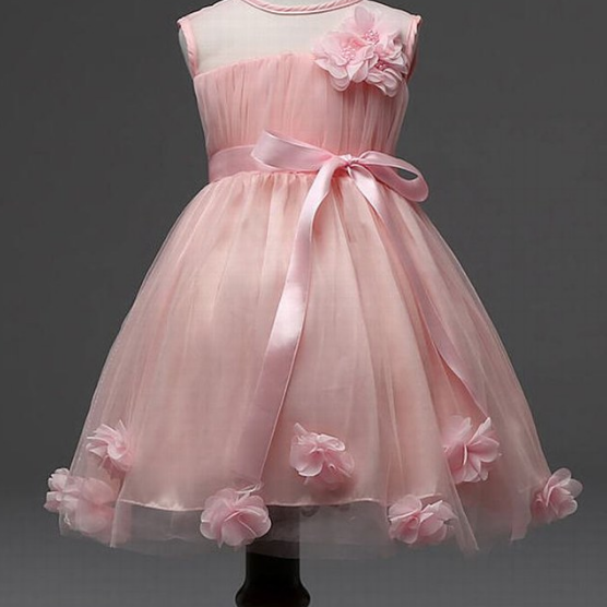 Charming Pink Girl Flower Dress Princess Dress Party Pageant Wedding Bridesmaid Tutu Dress Flower Girl Dresses Girl Dress