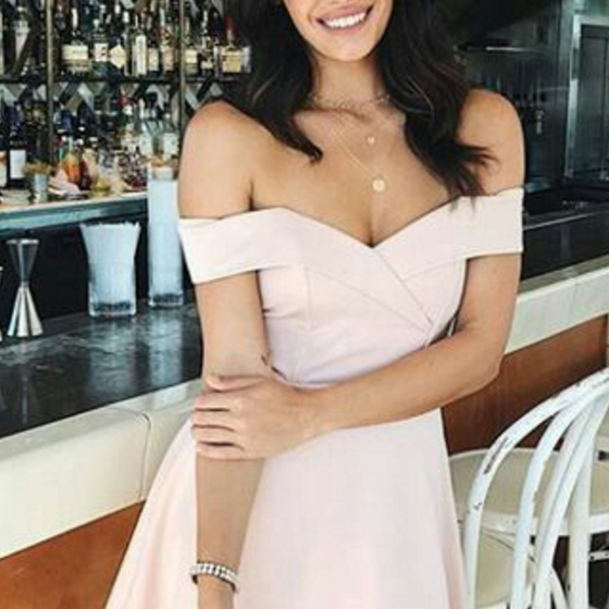Sexy Mini Prom Dress, Short Prom Gowns, Above Knee Off Shoulder Cocktail Dress