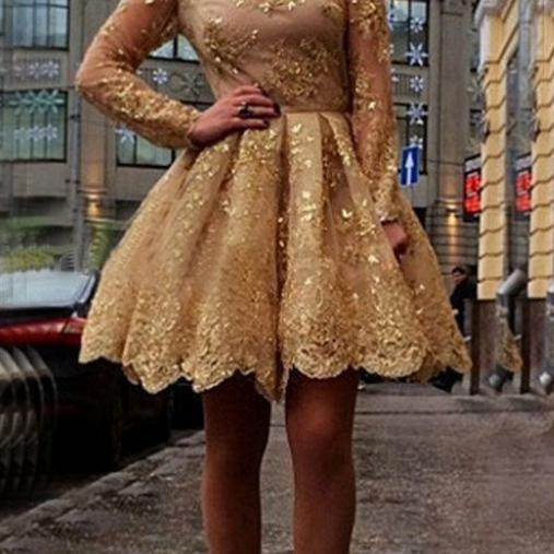 Homecoming Dresses Golden Long Sleeve Zipper-Up Appliques Above-Knee Jewels Ball-Gown
