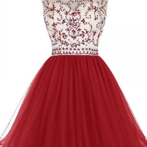 Homecoming Dresses Dark Red Capped Sleeves Tulle Zippers Beaded Short Jewels A-Line/Column