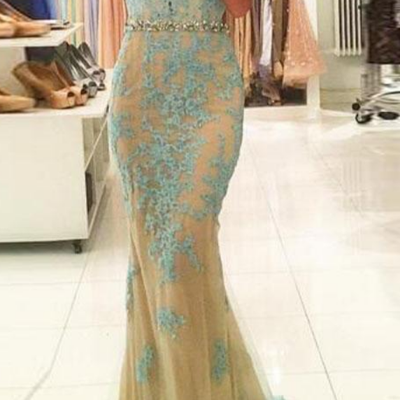 Open Back Evening Dresses Crystal Vestidos Longo Mermaid Robe De Soiree Applique Blue Long Prom Gowns