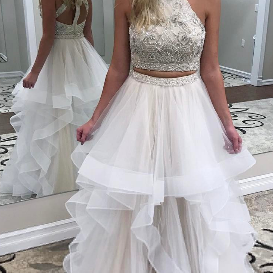 Two Piece Beads Ivory Long Prom Dress,Tulle Prom Dress,Evening Dress,