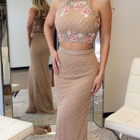 Two Piece Mermaid Beads Champagne Long Prom Dress,