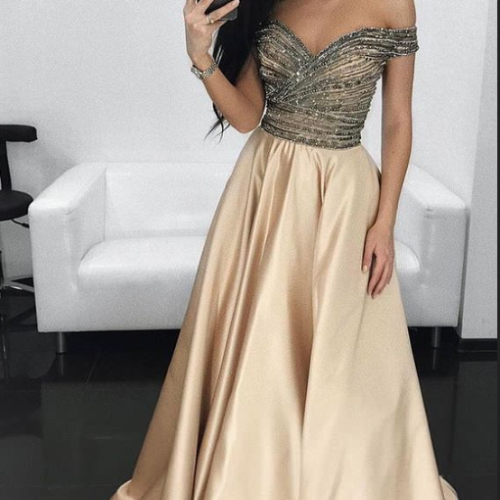 Champagne Prom Dresses,Off the Shoulder Prom Dresses,Satin Prom Dress,A Line Prom Gown,Long Evening Dresses,Formal Party Dress,