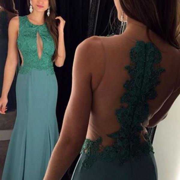 Green Prom Dresses,Backless Prom Dress,Lace Prom Dress,Backless Prom Dresses, Formal Gown,Open Back Evening Gowns,Open Backs Party Dress