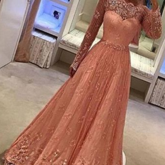 a line Long Sleeves Peach Lace Prom Dress with Appliques