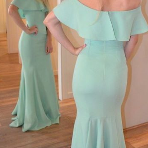 Off the Shoulder Green Chiffon Long Prom Evening Dress