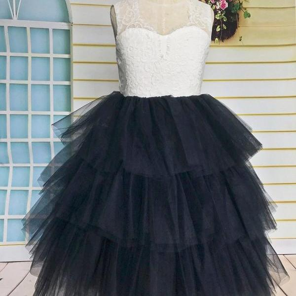Layered Lace Tulle Flower Girl Dress, Tutu Girl Dress with Navy Blue Skirt for Wedding