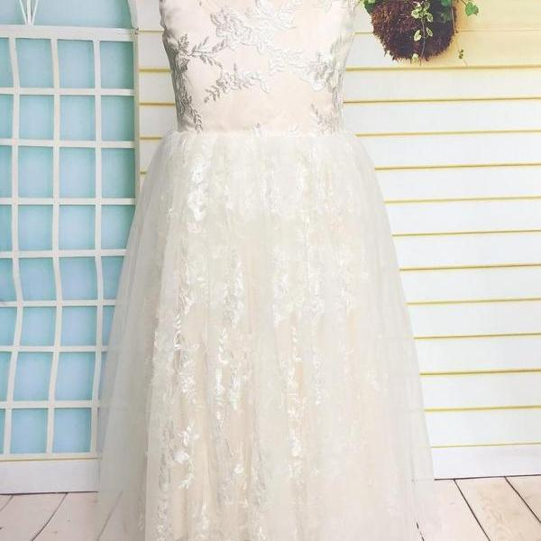 Champagne Lace Flower Girl Dress, Tulle Flower Girl Dress Tea Length with Love Cut Back