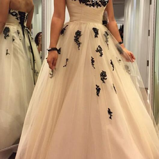 Sweetheart Applique Long Prom Dress, Women Ball Gowns, Tulle Formal Dresses