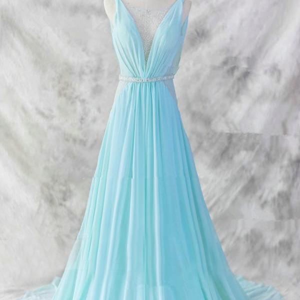 Pretty Baby Blue Chiffon Floor Length V-Neckline Prom Gown ,2016 Baby Blue Evening Dresses ,2016 Blue Formal Dresses ,Formal Dresses