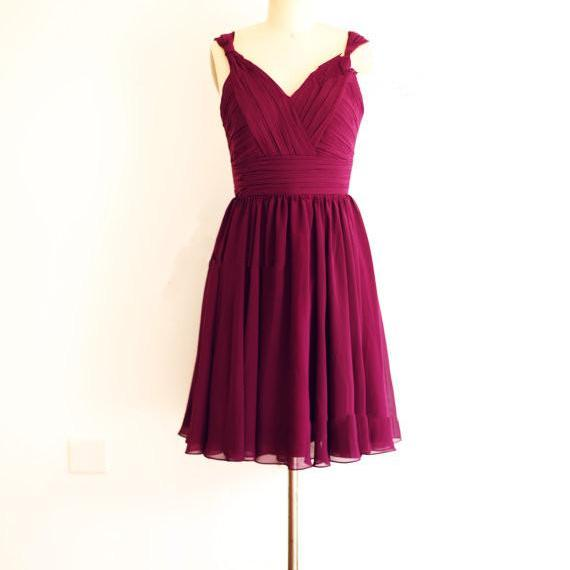 Simple And Lovely Burgundy Knee Length Chiffon Bridesmaid Dresses, Short Chiffon Bridesmaid Dresses, Burgundy Formal Dresses Weddings