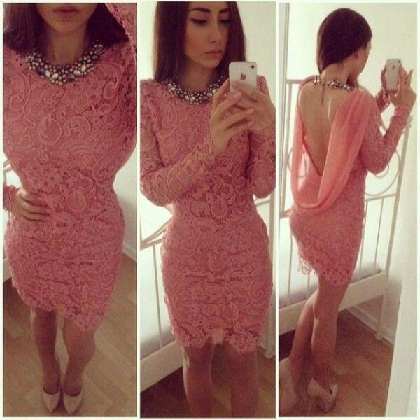 Coral Lace Cocktail Dresses ,High Neck Long Sleeve Cowl Open Back ...