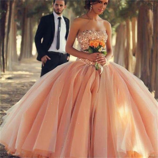 New 2016 Charming Peach Color Cheap Quinceanera Dresses For 15 Year Ball Gown Luxury Crystal Top Party Debutante Wedding Gowns