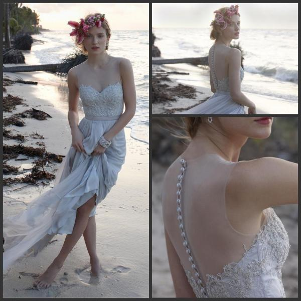 Sexy Summer Beach Chiffon Wedding Dresses Sheer Neck Chiffon Wedding Gowns With Lace Beads Plus Size Custom Bridal Gowns
