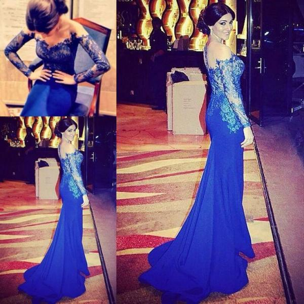 Robe De Soiree 2015 Custom Made Fashion Royal Blue Lace Prom Dresses Mermaid Satin Long Sleeves Evening Dresses Gowns