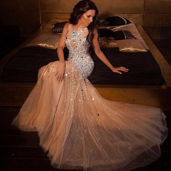Luxurious Abendkleid Crystal Beaded Mermaid Evening Dresses Tulle O Neck Floor Length Long Evening Dress Rhinestone Gowns