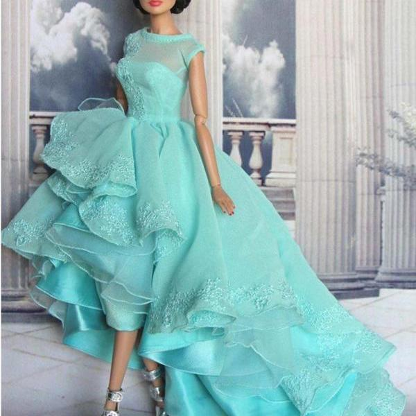 Hot New High Low Prom Dresses Lace Appliques Boat Neck Organza Vestido De Festa Charming Evening Prom Gowns