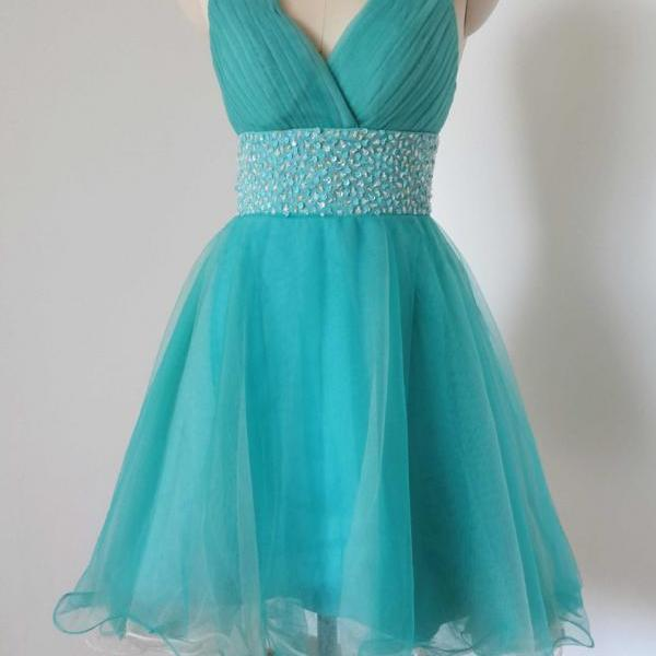 Teal Homecoming Dresses,Handmade Homecoming Dresses,V-neck Graduation Dresses,Simple Cheap Homecoming Dress
