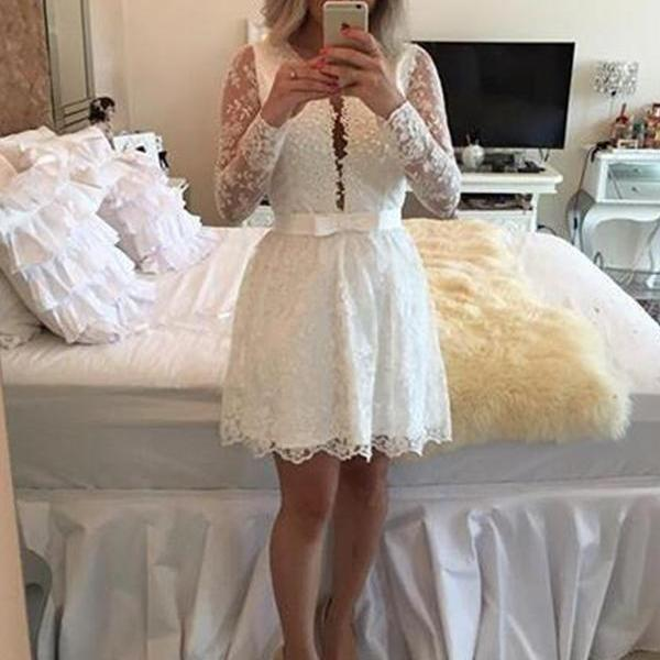 Long Sleeves Lace Homecoming Dresses,Pretty Elegant Homecoming Dresse,Modest Cocktail Dresses