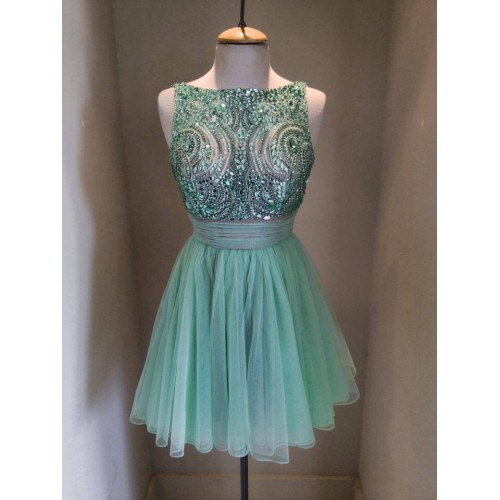 Short Beaded Homecoming Dress Whith Flower Type,Handmade Homecoming Dresses,Pretty Cocktail Dresses